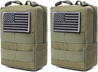 2 Pack Molle Pouches - Tactical Compact Water-Resistant EDC Pouch (Patch Not Included)