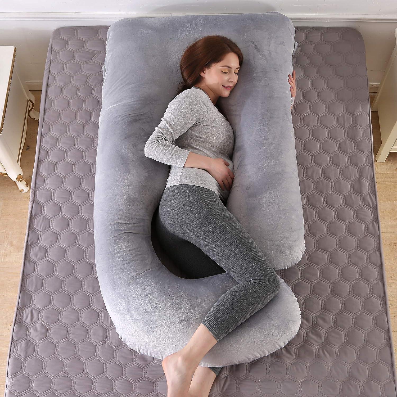 ARNTY Schwangerschaftskissen Zum Schlafen u Form,Pregnancy Pillow,Gross Kissen Schwangerschaft,Lagerungskissen mit Abnehmbarem Waschbarem Bezug Hellgrau-Kristallsamt