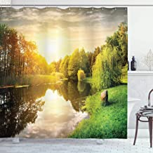 Ambesonne Lake House Decor Collection, Sunset Over Calm River Grass Willow Trees Grass Rocks Reflection Light Clouds, Polyester Fabric Bathroom Shower Curtain, 75 Inches Long, Green Blue White