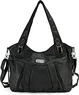 Satchel Handbag for Women, Ultra Soft Washed Vegan Leather Crossbody Bag, Shoulder Bag, Tote Purse, H1472