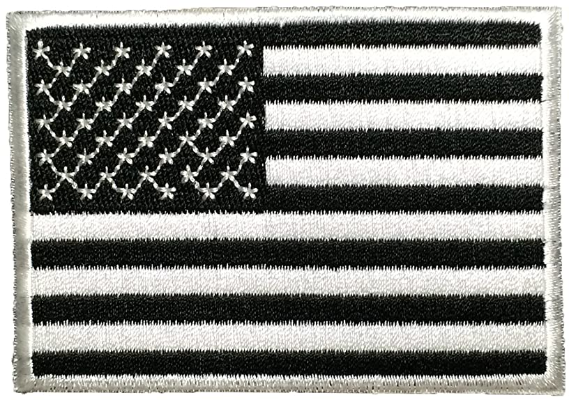 American USA Flag Applique Embroidered Patch Sew Iron on Military Uniform Emblem White & Black by Ranger Return (USAF-NBOR-WHBK)