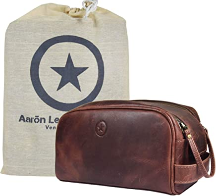 Leather Toiletry Bag for Men   Grooming Travel Kit   By Aaron Leather (Walnut -