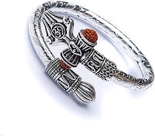 Rudraksha Shiv Om Trishul Damroo Kada for men, Lord Shiva Bahubali Cuff Bracelet for men, boys   Religious Brass Kada   Fr...