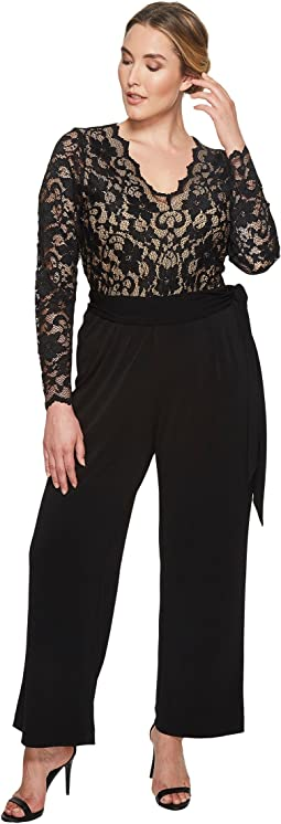 Karen Kane Plus - Plus Size Scallop Lace Palazzo Jumpsuit