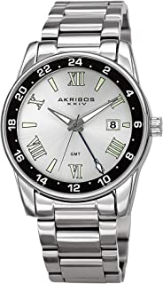 Akribos Stainless Steel Men's Watch – Link Bracelet Strap, Date and 24 Hour GMT Displays, Crystal Covered Bezel, Sporty and Elegant Wristwatch Great for Father's Day Gift - AK1055