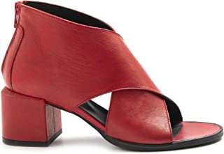 LE BOHEMIEN Sandalo Rosso in Pelle tcco Medio - T5020 Vit Lavato Rosso - Taglia