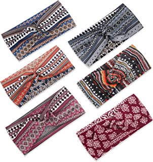 Tobeffect Turban Headbands for Women Boho Fashion Headband Non Slip Wide Hair Band (Boho Set 2)