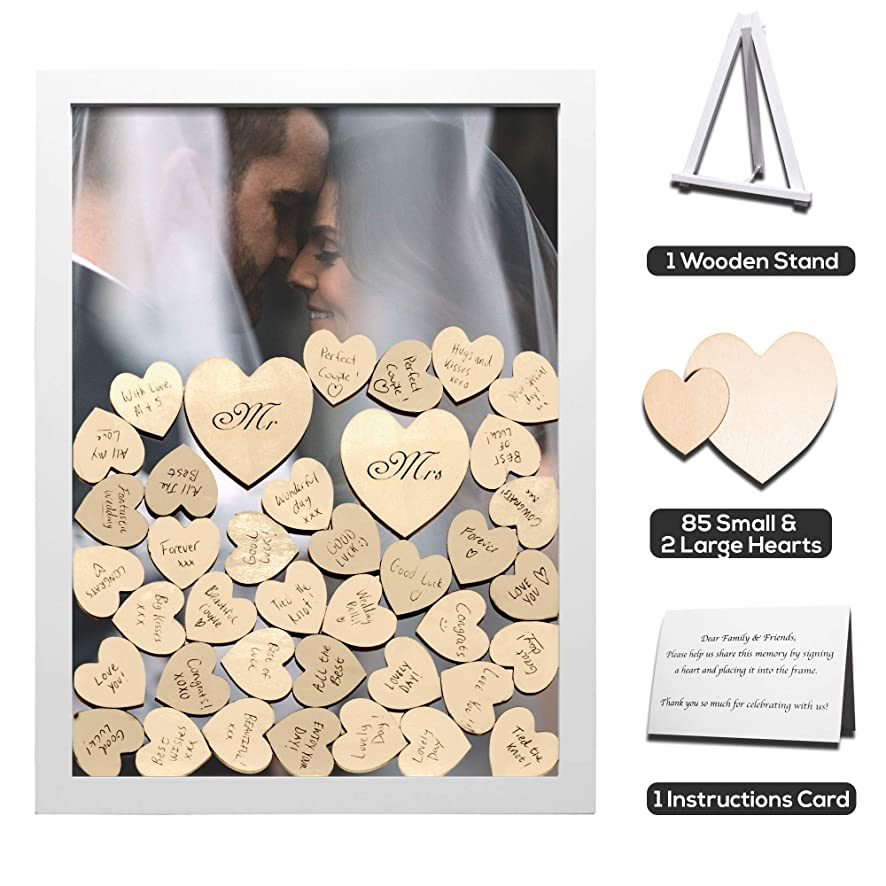 GLM Wedding Guest Book Alternative Drop Top Wooden Frame with Stand | 85 Small & 2 Large Hearts | Removable Back | Shower, Birthday, Special Occasion
