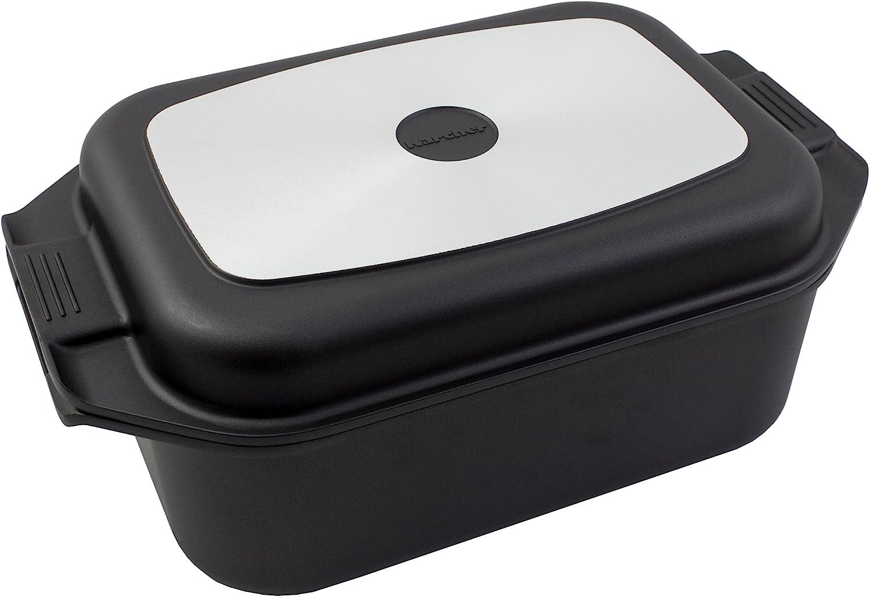 Karcher 121749 Sauteuse en Fonte d'Aluminium 2en1 (8,7litres, avec Couvercle et Gants de Cuisine, 41,5 x 25,5 cm) Noire Noir