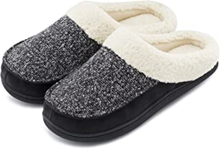 HomeTop Women's Comfort Memory Foam Slippers Fuzzy Wool Plush Slip-On Clog House Shoes w/Indoor & Outdoor Sole