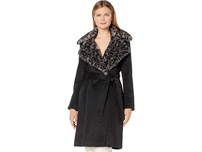 Via Spiga Womens Leopard Faux Fur Jacket with Oversized Collar