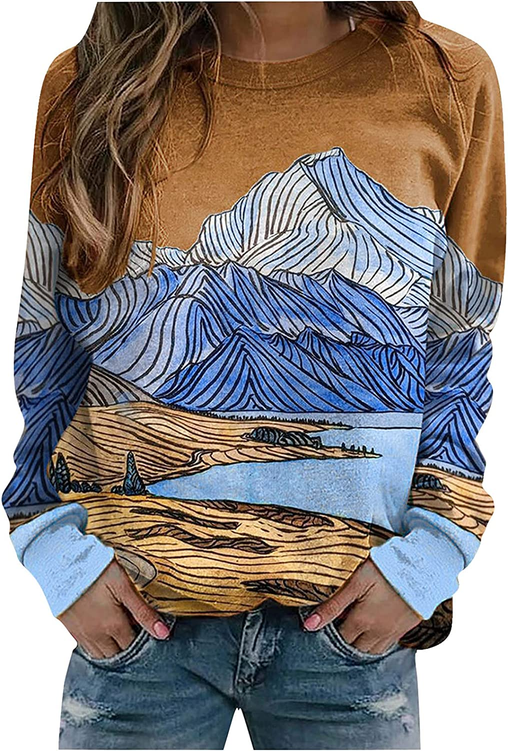 Halloween Fall Crewneck Sweatshirts Women Plus Size Vintage Landscape Painting Printed Pullover Blouse Going Out Tops