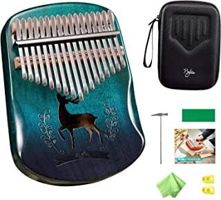 $39 » Byla Kalimba 17 Keys Thumb Piano Music Instrument Mahogany Wood Deer Bright Gradient Blue Finger Piano with Tuning Hammer