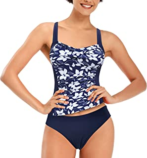 SHEKINI Women's Retro Twisted Front Tankini Set Tummy Control Two Piece Swimsuit