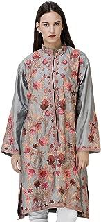 Exotic India Mint-Gray Kashmiri Long Jacket with Ari-Embroidered Tulips
