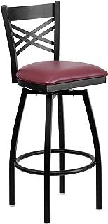 Flash Furniture HERCULES Series Black ''X'' Back Swivel Metal Barstool - Burgundy Vinyl Seat