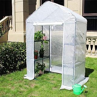 ビニールハウス 温室 ウォークイン温室ガーデニング断熱カバー、不凍液防雨防湿フラワーシェッド棚付き、ロング140cm / 210cm / 280cm (Size : Medium)