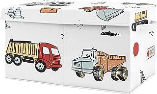 Sweet Jojo Designs Construction Truck Boy Small Fabric Toy Bin Storage Box Chest for Baby Nursery or Kids Room - Grey Yell...