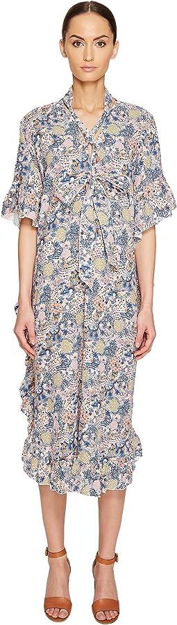 See by Chloe - Cotton Short Sleeve Tie Ruffle Dress