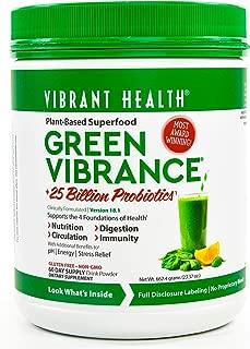 Vibrant Health, Green Vibrance, Plant-Based Superfood Powder, 25 Billion Probiotics Per Scoop, Vegetarian and Gluten Free, 60 Servings