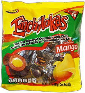 Jovy Enchilokas Candy. Mango Flavored Tamarind Covered Gummies With Chili. Net wt 1-lb 1-oz