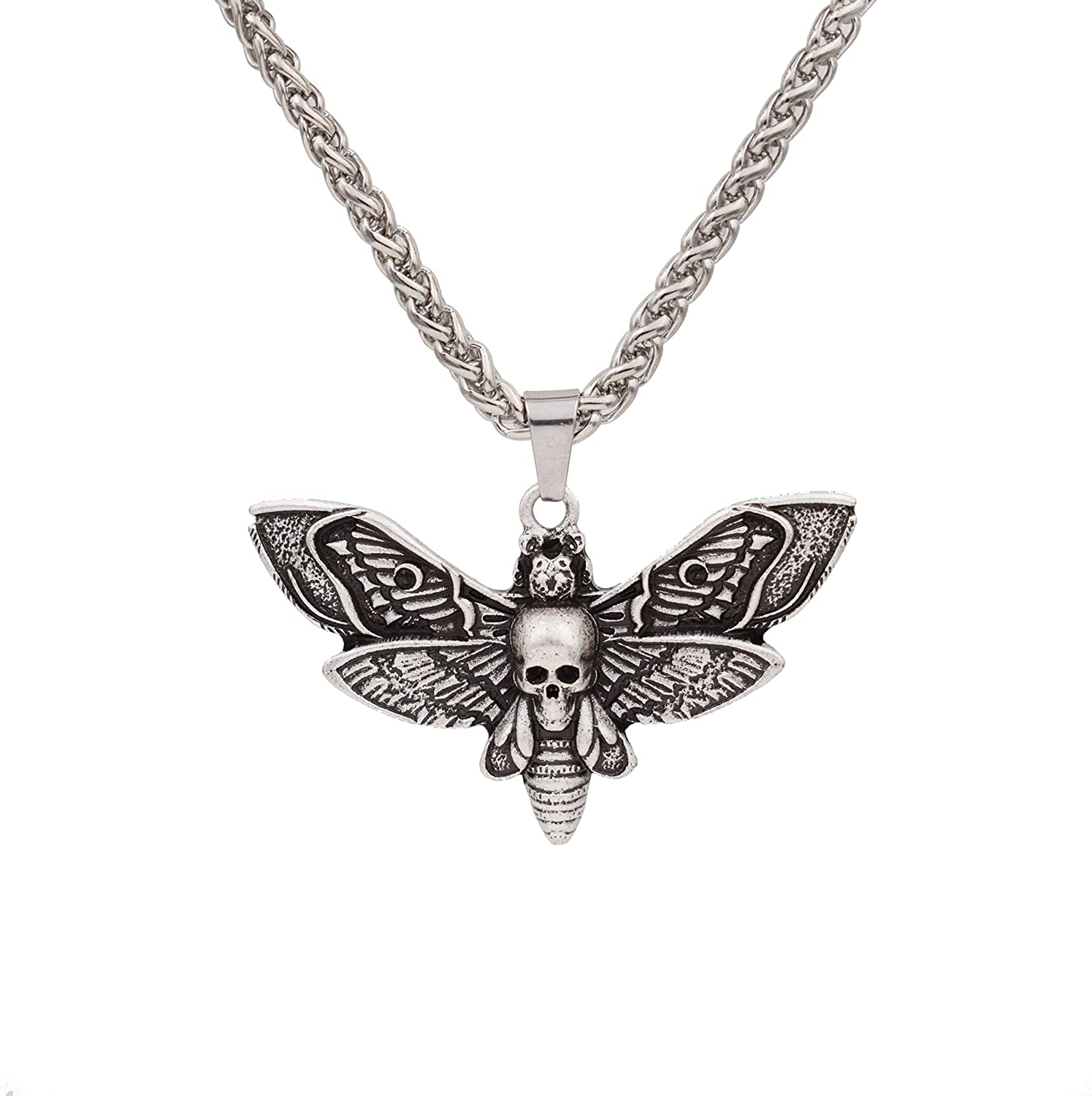 SanLan Death Head Moth Pendant Necklace Wicca Jewelry Goth Moth and The Moon