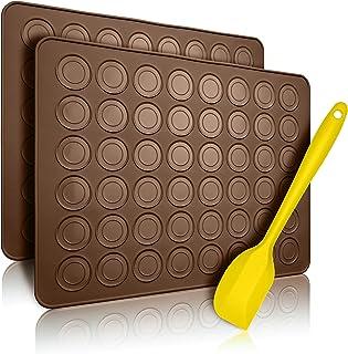 Belmalia 2x Tapis de Cuisson pour Macarons en Silicone pour Macarons sans défaut | Moule en Silicone Antiadhésif + Spatule...