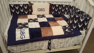 Woodland 1 to 4 piece baby boy nursery crib bedding, Personalized,Quilt, bumper, bed skirt,crib sheet, Buck deer head silhouette, Fawn hide, Arrows, Minky dot, Navy,Tan,Brown,Taupe,cream