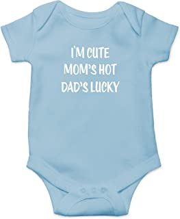 Crazy Bros Tees I'm Cute, Mom's Hot, Dad's Lucky Funny Cute Novelty Infant One-Piece Baby Bodysuit