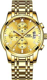 ساعة يد للرجال فاخرة كرونوغراف بسوار ستانلس ستيل وعرض انالوج وحركة كوارتز من اولميكا، مضادة للماء 830