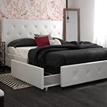 DHP Dakota Upholstered Faux Leather Platform Bed with Storage Drawers - Queen Size (White)
