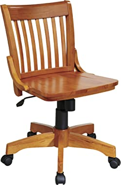 OSP Home Furnishings Deluxe Wood Bankers Armless Desk Chair with Wood Seat, Fruit Wood