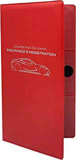 Deluxe Car Insurance and Registration Card Holder - Premium Quality Automobile Essential Documents Wallet, Red