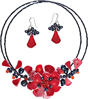 AeraVida Memory Wire Reconstructed Red Coral and Cultured Freshwater Pearl Floral Bouquet Jewelry Set