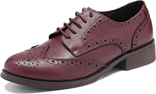 U-lite Women`s Perforated Lace-up Wingtip Leather Flat Oxfords Vintage Oxford Shoes Brogues