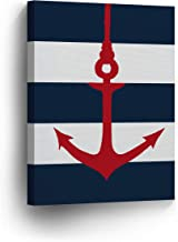 Anchor Red Illustration Navy Blue and White Striped Background Nautical Decor Canvas Print Coastal Wall Art Home Decoration Stretched Ready to Hang-%100 Handmade in The USA- 12x8