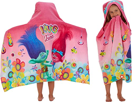 Franco Kids - Toalla de baño y Playa de algodón con Capucha, 61 x 127 cm, diseño de Trols