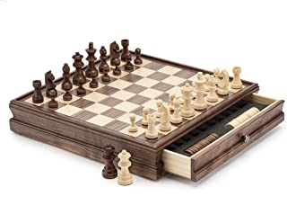 "A&A 15"" WOODEN CHESS & CHECKERS / Storage Drawer / 3"" King Height German Knight Staunton Chess Pieces / Walnut Box w/Walnu..."