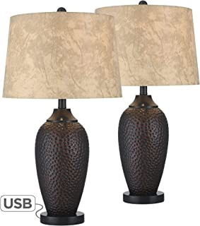 Kaly Rustic Industrial Table Lamp with USB Charging Port Hammered Oiled Bronze Faux Leather Drum Shade for Living Room Bedroom Bedside Nightstand Office Family - Franklin Iron Works