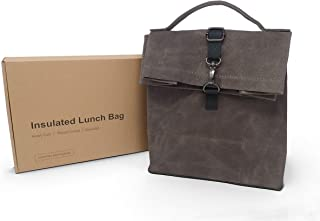 Heavy Duty Waxed Canvas Reusable Lunch Bag | Waterproof and Insulated Interior | Water Resistant Exterior | Keeps Food and...