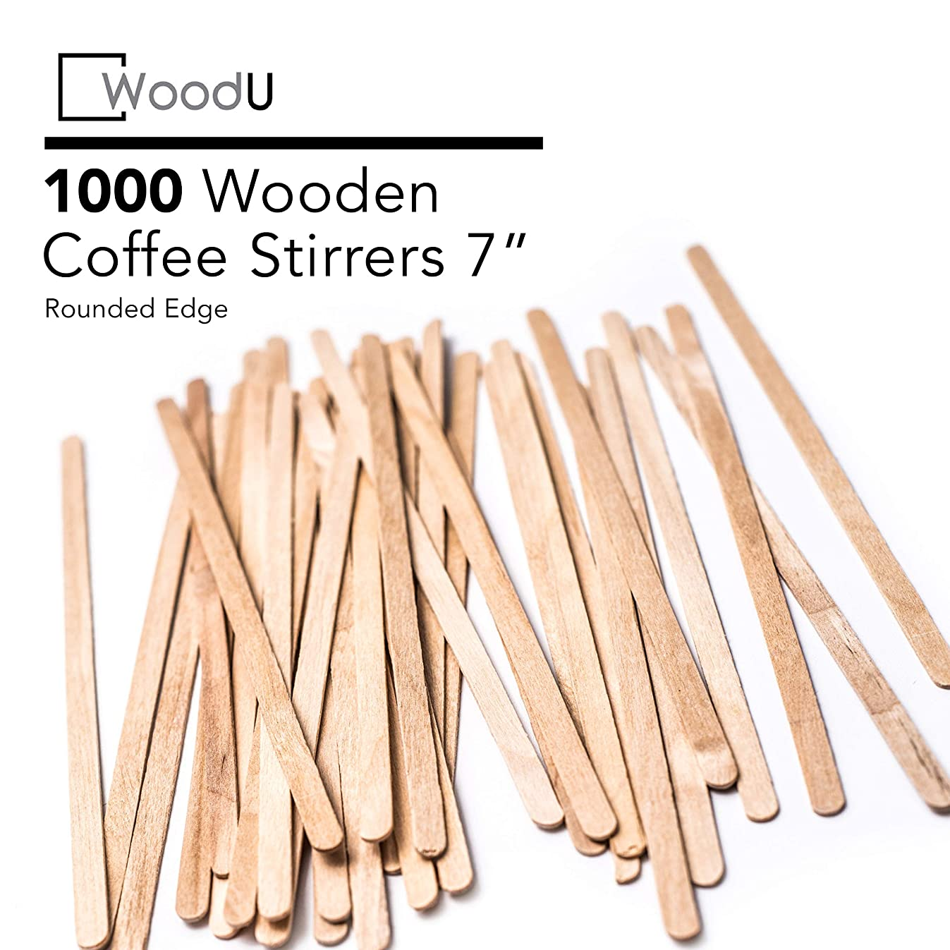 Coffee Stir Sticks Round End, Eco Friendly Coffee Stirrers Dark Wood for Hot Drinks (7 inches)