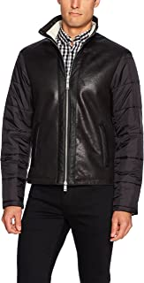 A|X Armani Exchange Men's Eco Leather Front Jacket with Quilted Nylon Sleeves