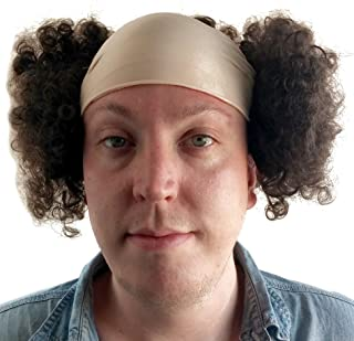 Larry Three Stooges Wig Bald Curly Brown Wig for Men