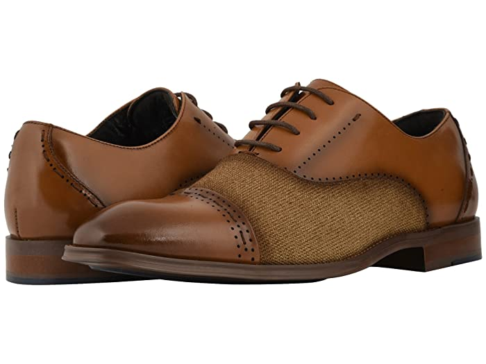 1950s Mens Shoes: Saddle Shoes, Boots, Greaser, Rockabilly Stacy Adams Barrington Cap Toe Lace Up Oxford Tan Mens Shoes $84.31 AT vintagedancer.com