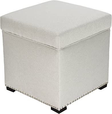 Foldable Square Cube EchoMerx 2-Cubic Foot Extra Padded Storage Ottoman with Lift Top Holds up to 200 lb Beige Woven Fabric