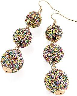 Elegantes pendientes de gota con efecto de bola de purpurina de color oro rosa