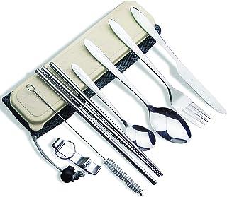 مجموعة ادوات مائدة معدنية للسفر من هيربرو من 9 قطع، مجموعة ادوات فضية محمولة من الستانلس ستيل، سكين، شوكة، ملعقة، فتاحة زج...