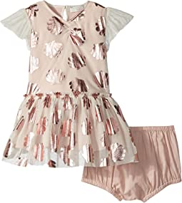 Stella McCartney Kids Bellie Seashell Print Tulle Dress (Infant)