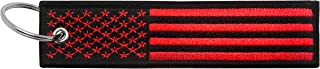 Flag Keychain Tag with Key Ring, EDC for Motorcycles, Scooters, Cars and Gifts (USA Red and Black)