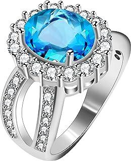 Uloveido Women's Oval Cut Cubic Zirconia Split Shank Ring Wedding Engagement 4 Prongs Halo Setting Jewelry J469